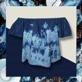 เสื้อปาดไหล่ ผ้ายีนส์เดนิมบาง ฟอกสี  รอบอกรวมแขน 45นิ้ว ยาว15นิ้ว  #เสื้อครอป #เสื้อมัดย้อม #มัดย้อม #ผ้ามัดย้อม