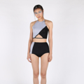 """Our special SS17, Hidden Gems Collection.  Tear Diamond is an asymmetrical two-piece swimsuit. The halter neck top with triangle cut-out. It is secured with strings from the front to tied around the neck. The top of the back is decorate with our customized """"BULLET"""" closure clasp. Below of the back is thin piping with closure hook and can be adjust for fit if needed.   The bottom of the swimsuit is also design as asymmetrical pattern to reflect with the design of the top. The swimsuit comes with paddings and linings.  FREE gift! Along with your purchase, PVC water-resistant bag with our logo print.  Availiable Size: XS, S, M, L SIZE XS: Bust 29-30 l Waist 24-25 l Hip 33-34 S: Bust 31-32 l Waist 26-27 l Hip 35-36 M: Bust 33-34 l Waist 28-29 l Hip 37-38 L: Bust 35-36 l Waist 30-31 l Hip 39-40 - - - - - - - - - - - - - - - - - - - - - - - - - - - - - SIZE XS: อก 29-30 l เอว 24-25 l สะโพก 33-34 S: อก 31-32 l เอว 26-27 l สะโพก 35-36 M: อก 33-34 l เอว 28-29 l สะโพก 37-38 L: อก 35-36 l เอว 30-31 l สะโพก 39-40  ------------------------------------------------------ #ผู้หญิง#Women #ชุดว่ายน้ำ#ชุดว่ายน้ำผู้หญิง #swimsuit#swimwear #ชุดว่ายน้ำวันพีช"""