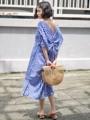 """:: เดรสยาว ทรงกิโมโน - Gingham Geisha Dress :: Back in Stock ! สินค้าพร้อมส่งค่ะ  รายละเอียดสินค้า + ขนาด : Freesize (รอบอก 40"""" สะโพก 45"""" ความยาว 45"""") + โทนสี : น้ำเงินตัดขาว ลายตาราง + เนื้อผ้า : คอตตอน + ราคา : 690 บาท  . . . . . . . . . . . . . . . . . . . . . . . . . . . . . . . . . .  คำอธิบายสินค้า (Description)   เดรสทรงกิโมโน แต่งดีเทลแขนระบาย ผ่าข้างเล็กน้อย ด้านหลังทำผ้ามัดปม ทรง oversized นะคะ แบบเก๋ เกาหลีสุด  . . . . . . . . . . . . . . . . . . . . . . . . . . . . . . . . . .  #Brownish #women #ผู้หญิง #เสื้อผ้าผู้หญิง #เสื้อผู้หญิง #เดรส #dress #เดรสยาว #เดรสเว้าหลัง #เว้าหลัง #เดรสทรงกิโมโน #กิโมโน"""