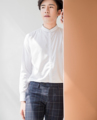 White - stashing stand collar shirt  Material : cotton fabric  color : white  price : 1,190 THB
