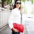 """:: กระเป๋าถือ - """"Tyra"""" ::  """"Tyra"""" leather clutch bag in red  รายละเอียดสินค้า  + ขนาด : 33x20 ซม. + โทนสี : แดง + วัสดุ : คลัชหนังวัวแท้ + ราคา : 5,000 บาท  . . . . . . . . . . . . . . . . . . . . . . . . . . . . . . . . . .  คำอธิบายสินค้า (Description)   กระเป๋าถือสีแดง ภายในมีช่องซิป 1 ช่อง และช่องมือถือ 1 ช่อง ไม่มีสายสะพาย ใช้ทุกโอกาส สำหรับคนรักกระเป๋าหนังไม่ควรพลาด งานกระเป๋าหนังเย็บมือ รับประกันคุณภาพดีทุกใบแน่นอน  . . . . . . . . . . . . . . . . . . . . . . . . . . . . . . . . . .  #SIRIYANEEBRAND #กระเป๋า #กระเป๋าหนัง #กระเป๋าถือ"""