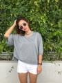 """:: เสื้อคอกว้าง มีโชกเกอร์ ::  รายละเอียดสินค้า  + ขนาด : Oversize (อก 50 นิ้ว ยาว 27 นิ้ว) + โทนสี : เทา  Detail + Size : Oversize (Chest: 50"""", Length 27"""") + Colour : gray  . . . . . . . . . . . . . . . . . . . . . . . . . . . . . . . . . .   คำอธิบายสินค้า (Description)  เสื้อยืด Oversize คอกว้าง มีโชกเกอร์ ออกแนวเซ็กซี่เล็กๆ ปนความเป็นเด็กใสๆ สามารถใส่คู่กับกางเกงขาสั้นสีอ่อน หรือกางเกงยีนส์ขาสั้นหรือขายาวก็ได้ตามใจชอบ  . . . . . . . . . . . . . . . . . . . . . . . . . . . . . . . . . .   #SAMAINIYOM #women #ผู้หญิง #เสื้อผ้าผู้หญิง #เสื้อผู้หญิง #เสื้อยืดตัวใหญ่ #เสื้อโอเวอร์ไซส์ #SAMAINIYOM #SAMAINIYOM"""