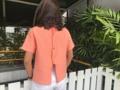 เสื้อคอเต่า กระดุมหลัง สีส้ม size : ใหล่ 16 อก 40 ยาว 22นิ้ว  #SAMAINIYOM #SAMAINIYOM