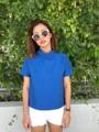 เสื้อคอเต่า กระดุมหลัง สีฟ้า size : ใหล่ 16 อก 40 ยาว 22นิ้ว  #SAMAINIYOM #SAMAINIYOM