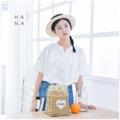 """❁ Hiroki Blouse เสื้อแขนสั้นผ้า cotton 100% เนื้อสัมผัสคล้ายลินิน ทอนุมใส่สบายมาก เนื้อผ้าเป็นลายทางเส้นสีชมพู, สีน้ำเงิน เพิ่มลูกเล่นด้วยการปักลาย X ทั้งชิ้น คอแมนดารินด้านหน้าคอวีเล็กน้อยมีกระดุมหนึ่งเม็ด ใส่กับยีนส์น่ารักมาก - - - - - - - - - - - - •• มี 2 สี : ลายเส้นสีชมพู, ลายเส้นสีน้ำเงิน •• ยาวหน้า 24.5"""" ยาวหลัง 26.5"""" อก 39"""" ไหล่ 15.5""""- 17"""" รอบต้นแขน 17"""" •• ราคา 490 บาท  #เสื้อผู้หญิง #เสื้อผ้าผู้หญิง #เสื้อแขนสั้น"""