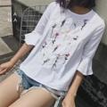 """❁ Dahlia Blouse เสื้อแขนห้าส่วนผ้าเนื้อผสมสีขาวใสสบายรีดง่าย ปักลายดอกไม้ด้านหน้าอย่าดีไม่ระคายผิว ปลายแขนทรงกระดิ่ง ใส่กับยีนส์สวยน่ารัก - - - - - - - - - - - - •• ยาว 22"""" อก 36"""" ไหล่ 15""""- 16"""" รอบต้นแขน 17"""" •• ราคา 590 บาท  #เสื้อผู้หญิง #เสื้อแขนยาว #แขนยาว"""