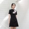 """Color : Black, Grey, Tribal, Stripe S-M bust32"""" waist26"""" hip36"""" Length 33"""" M-L bust34"""" waist28"""" hip38"""" Length 33"""" - Fabric : Linen ผ้าตัวนี้เป็นลินินญี่ปุ่น อัดกาวทั้งตัวนะคะ ดังนั้นจะเป็นทรงและยับยากกว่าลินินปรกติเยอะเลย แต่จะยืดหยุ่นได้น้อยกว่าค่ะ  #dress #เดรส #เดรสสั้น #เดรสแขนสั้น #เดรสคอกลม #เสื้อผ้าผู้หญิง #แขนสั้น #คอกลม"""
