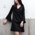 """Color : Black Freesize Bust 35"""" Length 35.5""""  Fabric : Cotton Satin Spandex  #dress #เดรส #เดรสสั้น #เดรสแขนยาว #เดรสคอวี #เสื้อผ้าผู้หญิง #แขนยาว #คอวี"""
