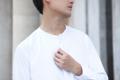 White - mandarin collar shirt  color : white material : cotton fabric  price : 1,090 THB  #เสื้อเชิ้ต #เสื้อเชิ้ตแขนยาว #เสื้อเชิ้ตสีขาว #เสื้อเชิ้ตผู้ชาย