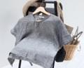 """:: michi top :: + Grey color + linen 100% + chest 40"""" + length 20.5"""" + 590THB.  #เสื้อผู้หญิง #เสื้อผ้าผู้หญิง #เสื้อแขนสั้น"""