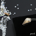Product Details:  Dimension: Pendant: 1.5 x 2.5 cm, Chain Length: 18 in.   Necklace Chain extension: None  Gems/Crystal: Swarovski Crystal  Color: Golden Shadow  Plating: Rhodium
