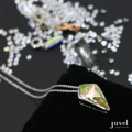 Product Details:  Dimension: Pendant: 1.5 x 2.5 cm, Chain Length: 18 in.   Necklace Chain extension: None  Gems/Crystal: Swarovski Crystal  Color: Luminous Green  Plating: Rhodium