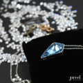 Product Details:  Dimension: Pendant: 1.5 x 2.5 cm, Chain Length: 18 in.   Necklace Chain extension: None  Gems/Crystal: Swarovski Crystal  Color: Aquamarine  Plating: Rhodium