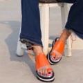 """สีส้ม ไซส์ 35-40 สูง 1.5"""" สายผูกข้อเท้าสามารถถอดออกได้ #TropicalTraveller"""