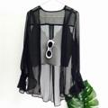 """Say Silk Blouse : เสื้อคลุมผ้าซิลค์ตัวนี้คือดีงามมากกกก ออกแดดจะเป็นสีเลื่อม ๆ ดูสวยแพง เพิ่มความหวานด้วยปลายแขนกระดิ่ง จั้มข้อมือนิดๆ สามารถใส่คลุมแบบปล่อยชายได้เลย หรือจะผูกเอวก็น่ารัก มีสายยาวให้ด้วยค่ะ (ด้านหลังมีที่คล้องเชือก) ใส่คลุมบิกินี่เดินริมหาด หรือใส่กับยีนส์ก็เปรี้ยว แต่ถ้าอยากหวานใส่ทับกับชุดเดรสก็เปลี่ยนเป็นอีกลุคเลย รับรองว่าสวยคุ้มราคา ใส่ได้บ่อยๆ เลยค่า (Price 590฿) . Free size L29"""" ถ่ายจากสินค้าจริง Import by Mermaid.  #เสื้อคลุม #เสื้อคลุมแขนยาว #เสื้อผ้าผู้หญิง"""