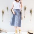 """[[ YoKo Skirt ]] • Linen • Elastic Waist 25""""-31"""" • Hip 45"""" • Length 25"""" • 750THB. **เอวยางยืดด้านหลัง ผ้าลินินตัวนี้สวยมากเลยค่ะ ใส่เป็นทรงมาก^^  #เสื้อผ้าผู้หญิง #กระโปรง #กระโปรงยาว"""