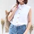 """:: mandarin shirt :: • linen • chest 38"""" • length 25"""" • 550THB  #เสื้อผู้หญิง #เสื้อผ้าผู้หญิง #เสื้อแขนกุด"""