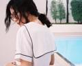 """Fabric : Linen  Freesize  Bust 38"""" Length 20""""  #Mitr #เสื้อผู้หญิง #เสื้อผ้าผู้หญิง #เสื้อคอวี #เสื้อแขนสั้น #เสื้อผูกโบว์ #ผูกโบว์ #เสื้อสีขาว #สีขาว"""