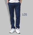 รหัสสินค้า : L05 รายละเอียดสินค้า กางเกงผ้า Chino ที่ฮิตที่สุดในขณะนี้  ราคาเดียวทุกสีทุกไซส์ 390 บาท  กางเกงชิโน่ ขายาว ทรงกระบอกเล็ก เนื้อผ้า Cotton 100% คุณภาพเยี่ยม นิ่ม ใส่สบาย รับประกันสีไม่ตก ไม่ซีด มีให้เลือกมากถึง 18 เฉดสี  เอวมีไซส์ 30, 32, 34, 36, 38  L01 สีเลือดหมู L02 สีกากี L03 สีเขียวขี้ม้า L04 สีเทา L05 สีกรมท่าอ่อน L06 สีดำ L07 สีครีม L08 สีน้ำตาลไหม้ L09 สีกรมท่าเข้ม L10 สีส้มอิฐ L11 สีน้ำตาล L12 สีเทาอ่อน L13 สีน้ำตาลโกโก้ L14 ลายพราง *หมด L15  สีเขียวทหาร L16 สีน้ำทะเล L17 สีกากีเข้ม L18 สีเทาดำ *หมด  #กางเกง #กางเกงขายาว #กางเกงผู้ชาย #กางเกงผู้ชายขายาว #กางเกงขายาวผู้ชาย
