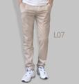 รหัสสินค้า : L07 รายละเอียดสินค้า กางเกงผ้า Chino ที่ฮิตที่สุดในขณะนี้  ราคาเดียวทุกสีทุกไซส์ 390 บาท  กางเกงชิโน่ ขายาว ทรงกระบอกเล็ก เนื้อผ้า Cotton 100% คุณภาพเยี่ยม นิ่ม ใส่สบาย รับประกันสีไม่ตก ไม่ซีด มีให้เลือกมากถึง 18 เฉดสี  เอวมีไซส์ 30, 32, 34, 36, 38  L01 สีเลือดหมู L02 สีกากี L03 สีเขียวขี้ม้า L04 สีเทา L05 สีกรมท่าอ่อน L06 สีดำ L07 สีครีม L08 สีน้ำตาลไหม้ L09 สีกรมท่าเข้ม L10 สีส้มอิฐ L11 สีน้ำตาล L12 สีเทาอ่อน L13 สีน้ำตาลโกโก้ L14 ลายพราง *หมด L15  สีเขียวทหาร L16 สีน้ำทะเล L17 สีกากีเข้ม L18 สีเทาดำ *หมด  #กางเกง #กางเกงขายาว #กางเกงผู้ชาย #กางเกงผู้ชายขายาว #กางเกงขายาวผู้ชาย