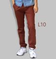 รหัสสินค้า : L10 รายละเอียดสินค้า กางเกงผ้า Chino ที่ฮิตที่สุดในขณะนี้  ราคาเดียวทุกสีทุกไซส์ 390 บาท  กางเกงชิโน่ ขายาว ทรงกระบอกเล็ก เนื้อผ้า Cotton 100% คุณภาพเยี่ยม นิ่ม ใส่สบาย รับประกันสีไม่ตก ไม่ซีด มีให้เลือกมากถึง 18 เฉดสี  เอวมีไซส์ 30, 32, 34, 36, 38  L01 สีเลือดหมู L02 สีกากี L03 สีเขียวขี้ม้า L04 สีเทา L05 สีกรมท่าอ่อน L06 สีดำ L07 สีครีม L08 สีน้ำตาลไหม้ L09 สีกรมท่าเข้ม L10 สีส้มอิฐ L11 สีน้ำตาล L12 สีเทาอ่อน L13 สีน้ำตาลโกโก้ L14 ลายพราง *หมด L15  สีเขียวทหาร L16 สีน้ำทะเล L17 สีกากีเข้ม L18 สีเทาดำ *หมด  #กางเกง #กางเกงขายาว #กางเกงผู้ชาย #กางเกงผู้ชายขายาว #กางเกงขายาวผู้ชาย