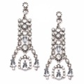This vintage drop earring is made from alloy metalsand decorated with crystal.  Materials: Zinc alloy & Crystal Length: 6 cm.