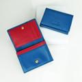 """กระเป๋าสตางค์หนังแท้ """"Mini Purse""""  สี : น้ำเงินแถบแดง ( Navy Blue & Red Trim) ผลิตจากหนังวัวแท้  ผิวธรรมชาติ Dimension : 11x 8.3 x 1.8 cm Weight : 46 grams  Product code : MP Price : 495 THB. - Made from genuine leather (cow leather) - Features coin section, 3 noted sections  and 2 card sections - Tab fastening  รายละเอียดสินค้า (TH) วัสดุ : ทำจากหนังแท้  มีช่องทั้งหมด 6 ช่อง : ประกอบด้วย ช่องด้านใน 5 ช่อง และช่องด้านหลัง 1 ช่อง โดยช่องด้านในตรงกลางเหมาะสำหรับใส่แบงค์พับครึ่ง, เหรียญ , หรือบัตรได้หลายใบ"""