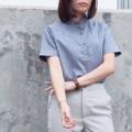 """:: Taru Shorto Shirt :: • Indigo Blue • Cotton x Linen • Chest 40"""" • Length 25"""" • 590THB.  #เสื้อผ้าผู้หญิง #เสื้อผู้หญิง #เสื้อเชิ้ต #เส้อเชิ้ตผู้หญิง #เสื้อเชิ้ตแขนสั้น #เสื้อเชิ้ตคอจีน"""