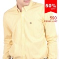 ":: เสื้อเชิ้ตแขนยาว - Yellow Gingham Check Shirt ::   รายละเอียดสินค้า + ขนาด :  Size S : ไหล่ 15"" รอบอก 38"" ความยาว 27"" ความยาวแขน 24"" Size M : ไหล่ 16.5"" รอบอก 40"" ความยาว 27.5"" ความยาวแขน 24.5"" Size L : ไหล่ 18"" รอบอก 42"" ความยาว 28"" ความยาวแขน 25"" Size XL : ไหล่ 19.5"" รอบอก 44"" ความยาว 28.5"" ความยาวแขน 25.5"" + โทนสี : เหลือง ลายตาราง + ราคา : 590 บาท  . . . . . . . . . . . . . . . . . . . . . . . . . . . . . . . . . .  คำอธิบายสินค้า (Description)  Designed and crafted in the heart of Bangkok, the latest series of Gingham check shirt are here! We are proudly present that our Gingham check shirts are made from the Egyptian cotton, one of the best cotton in the world. With longer staple of Egyptian cotton turn into more uninterrupted fiber means there are fewer splices, and softer than regular cotton.   Also with more porous help soak up a lot more moisture and therefore it will make you feel more comfortable than regular cotton. With Mercerized, Sanforized finishing made our fabrics shinier, silkier, less color-wash-out, and less almost non fabric shrinkage.   The finest pattern and cutting, regular fit button down collar Gingham check shirt with our signature badge on the left chest pocket, and the final touch of navy horizontal button hole on the very last button exclusively made for you.   . . . . . . . . . . . . . . . . . . . . . . . . . . . . . . . . . . #SLOPEMenswear #men #ผู้ชาย #เสื้อเชิ้ต #เสื้อเชิ้ตผู้ชาย #เสื้อเชิ้ตแขนยาว"