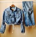 """Cropped jacket jeans พร้อมส่ง !! รอบอก 40"""" ไหล่ 6"""" ยาว 15""""  #เสื้อผู้หญิง #เสื้อผ้าผู้หญิง #เสื้อครอป #เสื้อแขนยาว #เสื้อยีนส์ #เสื้อแจ็คเก็ต"""