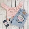 """Ruffle crop pink vs Mermaid short jeans 💕✨   เสื้อ S : รอบอก 26-38"""" ความยาวเสื้อ 9"""" M : รอบอก 28-40"""" ความยาวเสื้อ 9.5""""  กางเกง เอว 23-32""""   แจ้งเอวสะโพกได้ที่ช่องเพิ่มเติมถึงร้านค้าในขั้นตอนการสั่งซื้อนะคะ  #เสื้อผ้าผู้หญิง #เสื้อผู้หญิง #เสื้อเปิดไหล่  #เปิดไหล่ #เสื้อปาดไหล่ #ปาดไหล่ #กางเกง #กางเกงผู้หญิง #กางเกงขาสั้น #กางเกงขาสั้นผู้หญิง #กางเกงผู้หญิงขาสั้น #กางเกงยีนส์ #กางเกงยีนส์ขาสั้น"""