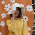 Floppy hat tulip ปักกว้างด้านนึงผ้าลูกไม้อีกด้านสีพื้น