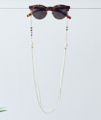 Ivory Suede and Glass Stone with Disc Glasses Chain