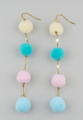 Cute Pastel Color Pom Pom Layers Earrings