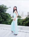"""☆☆☆ 'Evening Light' Sleeveless and Trouser:  Blue shining in Silver ☆☆☆  / สีฟ้า Blue shining in Silver / ( Color might not appear correctly, it depends on the applications and devices you're using. )  Sleeveless* Available in size.. S ( Chest size 34"""") M (Chest size 36"""") L (Chest size 38""""), or ☆ Made to order Size ☆ ---- Trouser* Available in size.. S ( Waist size 26"""") M (Waist size 28"""") L (Waist size 30""""), or ☆ Made to order Size ☆  ☆ ☆ ☆ ☆ ☆ ☆ ☆  #เสื้อผ้าผู้หญิง #เสื้อผู้หญิง #เสื้อแขนกุด #กางเกง #กางเกงผู้หญิง #กางเกงขายาว #กางเกงขายาวผู้หญิง #กางเกงผู้หญิงขายาว"""