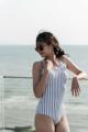 """:: ชุดว่ายน้ำผู้หญิง - Crossback - [Stripe/navy] :: Minimal swimwear that you'll love with best quality and reasonable price. Every pieces are design by the designer. We use high quality textile that are UV protected and every swimwear come with bra pads inside.  ชุดว่ายน้ำมินิมอล (minimal) เรียบหรู ราคาพอดี คุณภาพดีเยี่ยม ออกแบบโดยนักออกแบบ (designer) ฝีมือดี ใช้ผ้าสำหรับชุดว่ายน้ำโดยเฉพาะ กันยูวี มีซับในทุกตัว พร้อมฟองน้ำรับทรงในตัว เราตั้งใจผลิตเย็บอย่างดีทุกชิ้นเพื่อลูกค้าทุกท่าน 😊 ไม่แน่ใจปรึกษาเรื่อง size ก่อนสั่งซื้อได้ที่ Ark to seller นะคะ -------------------------------------------------------------- [Detail] High quality cutting swimwear Thailand. cross back  color :  stripe/navy size in: s m l material : 80% nylon 20% lycra -------------------------------------------------------------- **SIZE CHART** Size S: Bust 29.5""""-31.5"""" l Waist 26"""" l Hip 32""""-33.5"""" Size M: Bust 31""""-32.5"""" l Waist 28"""" l Hip 34""""-36.5"""" Size L: Bust 33""""-34.5"""" l Waist 30"""" l Hip 36.5""""-39""""  --------------------------------------------------- #women #ผู้หญิง #ชุดว่ายน้ำ #ชุดว่ายน้ำผู้หญิง #ชุดว่ายน้ำวันพีช"""