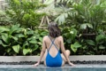 """:: ชุดว่ายน้ำผู้หญิง - Crossback - [flickr blue] :: Minimal swimwear that you'll love with best quality and reasonable price. Every pieces are design by the designer. We use high quality textile that are UV protected and every swimwear come with bra pads inside.  ชุดว่ายน้ำมินิมอล (minimal) เรียบหรู ราคาพอดี คุณภาพดีเยี่ยม ออกแบบโดยนักออกแบบ (designer) ฝีมือดี ใช้ผ้าสำหรับชุดว่ายน้ำโดยเฉพาะ กันยูวี มีซับในทุกตัว พร้อมฟองน้ำรับทรงในตัว เราตั้งใจผลิตเย็บอย่างดีทุกชิ้นเพื่อลูกค้าทุกท่าน 😊 ไม่แน่ใจปรึกษาเรื่อง size ก่อนสั่งซื้อได้ที่ Ark to seller นะคะ -------------------------------------------------------------- High quality cutting swimwear Thailand. cross back  color : flickr blue. size in: s m l material : 80% nylon 20% lycra -------------------------------------------------------------- **SIZE CHART** Size S: Bust 29.5""""-31.5"""" l Waist 26"""" l Hip 32""""-33.5"""" Size M: Bust 31""""-32.5"""" l Waist 28"""" l Hip 34""""-36.5"""" Size L: Bust 33""""-34.5"""" l Waist 30"""" l Hip 36.5""""-39"""""""