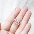 สร้อยคอ สุดน่ารัก จี้รูปหัวใจคู่ สามารถซื้อเป็นของขวัญให้กับสาวๆ ได้ในวันสำคัญต่างๆ รับรองว่าเป็นที่ถูกใจอย่างแน่นอน  Price: 1,090 THB
