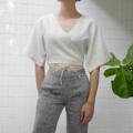 """ชื่อสินค้า : Monday Wrap Top (Grey) free size (bust up to 38"""") ผูกได้ตามตัว length 17"""" Linen100% สี : เทา Grey  #เสื้อผ้าผู้หญิง #เสื้อผู้หญิง #เสื้อแขนกุด"""