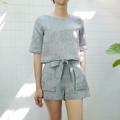 ชื่อสินค้า : 3/4 sleeve crop + weekender shorts (grey) ในเซ็ตประกอบด้วย 1. เสื้อแขนสั้น ราคา 690 บาท 2. กางเกงขาสั้น ราคา 750 บาท **สามารถแจ้งเพื่อซื้อแยกเสื้อ-กางเกงได้นะคะ**  Freesize Top Freesize Shorts (Smocked waist) Colors : เทา Grey  #เสื้อผ้าผู้หญิง #เสื้อผู้หญิง #เสื้อแขนสั้น #กางเกง #กางเกงขาสั้น #กางเกงผู้หญิง #กางเกงผู้หญิงขาสั้น #กางเกงขาสั้นผู้หญิง