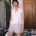 """ชื่อสินค้า : collar tie waist shirt free size Bust 35-36 """"  Fabric : pure linen สี : ขาว  #เสื้อผ้าผู้หญิง #เสื้อผู้หญิง #เสื้อแขนกุด #เสื้อเชิ้ต #เสื้อเชิ้ตแขนกุด"""