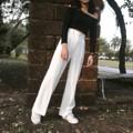 กางเกงขากระบอก  ผ้าโพลีเอสเตอร์ผสมสเปนเดกซ์ มี2ไซส์นะคะ เช็คไซส์ได้จากรูปสุดท้าย ด้านหลังเป็นสม้อค  สี : ขาว white  #กางเกง #กางเกงผู้หญิง #กางเกงขายาว #กางเกงขายาวผู้หญิง #กางเกงผู้หญิงขายาว