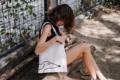 ชื่อสินค้า : Dog Tote กระเป๋าผ้า โลโก้ I don't have a name ลายน่ารักๆ สไตล์มินิมอล  สี : ขาว white  #กระเป๋า #กระเป๋าสะพาย #กระเป๋าผ้า