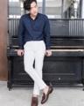 White trousers with leg button  color : ขาว white material : cotton spendex  price : 1,490  THB  #grounderbkk #กางเกง #กางเกงผู้ชาย #กางเกงขายาว #กางเกงผู้ชายขายาว #กางเกงขายาวผู้ชาย #กางเกงทำงาน