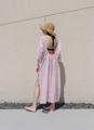 MAILLOT CLOTHING - CORONA - material : Linen สี : ชมพู Pearl pink  #เดรส #เดรสยาว#เดรสแขนยาว #เดรสเว้าหลัง #เว้าหลัง