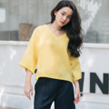 "Fabric : Linen Color : เหลือง Yellow Chest : 44"" Length : 21"" Length (Arm) : 14""   Detail :  - Linen - V-neck  - Oversize  ⭐️Hand Washing linen clothes is recommended⭐️  ⚡️To properly hand-wash linen, place it in a clean sink with cool water and mild detergent. Gently agitate the clothing items, only use a gentle swishing motion – never wring, twist or scrub the fabric, then remove from the soapy water. Drain the soapy water, rinse the sink and refill with cool water.  #เสื้อผ้าผู้หญิง #เสื้อผู้หญิง #เสื้อแขนสั้น"