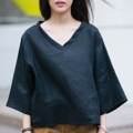 "Fabric : Linen Color : ดำ Black Chest : 44"" Length : 21"" Length (Arm) : 14""   Detail :  - ผ้า Linen - คอวี  - Oversize - สวมใส่สบาย - Linen Fabric - V-neck shirt - Oversize - With a hidden zipper on the back  - Casual and comfortable to wear  MODEL Height : 160 cm.  ⭐️Hand Washing linen clothes is recommended⭐️  ⚡️To properly hand-wash linen, place it in a clean sink with cool water and mild detergent. Gently agitate the clothing items, only use a gentle swishing motion – never wring, twist or scrub the fabric, then remove from the soapy water. Drain the soapy water, rinse the sink and refill with cool water. ⚡️Washed in lukewarm temperatures – never in cold or hot.  #เสื้อผ้าผู้หญิง #เสื้อผู้หญิง #เสื้อแขนสั้น"