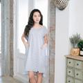 """เดรสคอวี หน้าสั้นหลังยาว ผ้าทอลายริ้วเทาอ่อน ซับในทั้งตัว มีกระเป๋าด้านข้าง  Fabric : Cotton Color : เทา White & Light Gray Stripe Chest : 38"""" Armhole : 15"""" Length Front : 35"""" Length Back : 39""""  Detail :  - 2 side pockets  - Interior lining - Invisible zipper at back side - Casual and comfortable to wear  - Made in THAILAND - Model Height : 160 cm.  #เสื้อผ้าผู้หญิง #เดรส #เดรสสั้น #เดรสแขนสั้น #เดรสสั้นแขนสั้น"""