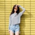 """เสื้อเรย่อนแขนยาวคร้อป ริ้วเทาดำ Fabric : Reyon Color : เทา Gray With ดำ Black Stripes Chest : 39"""" Arm : 19.5"""" Length (Front) : 18"""" Length (Back) : 20"""" Detail : Casual and comfortable to wear  - Made in THAILAND - Model Height : 170 cm.  #เสื้อผ้าผู้หญิง #เสื้อผู้หญิง #เสื้อยืด #เสื้อยืดผู้หญิง #เสื้อยืดแขนยาว #เสื้อแขนยาว"""