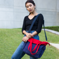 """ZINC - Transformize L""  Category: Crossbody Bag & Shoulder Bag Materials: Canvas Size: 6""W x 16""L x 15""H Color: Red - Navy (สี แดง - สี กรม )  Compartments: + Outer Pockets: 2 Pockets on both sides + Inner Pockets: 1 Normal Pocket, 1 Zip Pocket, 2 Small Pockets  Capacity: + Mobile Phone + Power Bank + Ipad / Tablets + Laptop + Wallet + Small Umbrella + Books + Cosmetics + Stationary + Documents  HANDMADE IN BKK, THAILAND * Please note that due to lighting effect and computer color, the actual color might be slightly different from the picture.*  #แคนวาส #กระเป๋า #กระเป๋าผ้า #กระเป๋าสะพาย #สีแดง #zinc #zincbag"